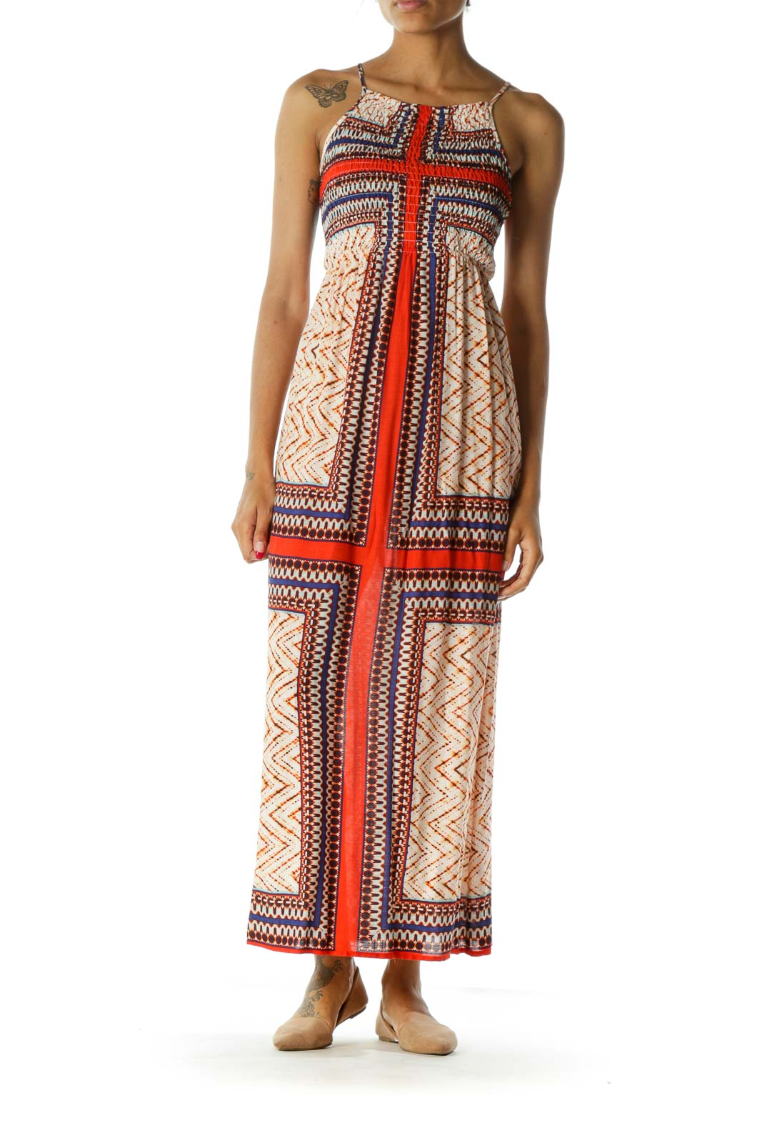 Blue Orange Square Neck Spaghetti Strap Shirring Maxi Dress