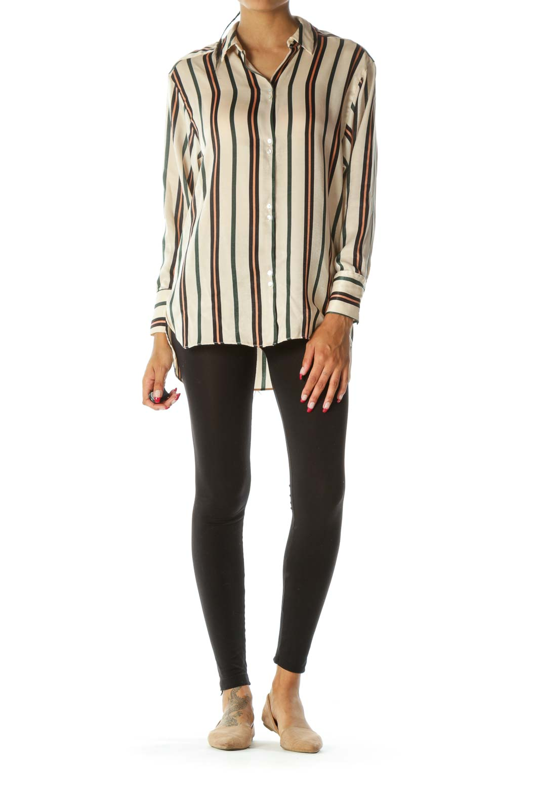 Beige Black Green Striped Shiny Long Sleeve Soft Shirt