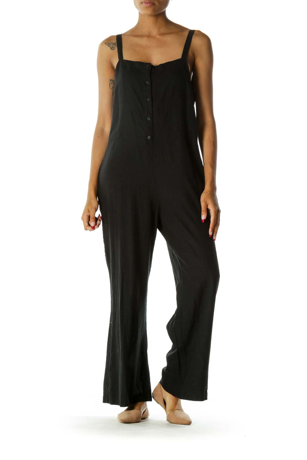 Black Linen Square Neck Buttoned Pocketed Jumpsuit