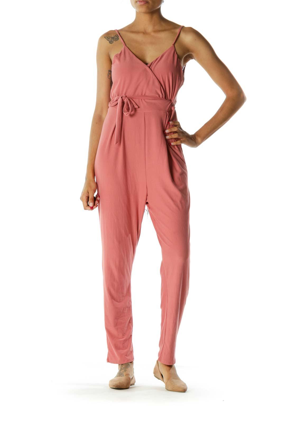 Coral Pink Surplice V-Neck Spaghetti Strap Soft Texture Stretch Jumpsuit
