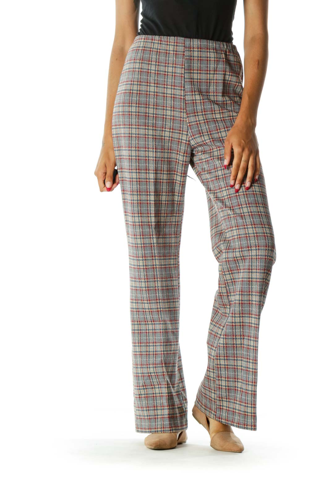 Blue Red Yellow Plaid Knitted Pattern Pull On Flared Pants