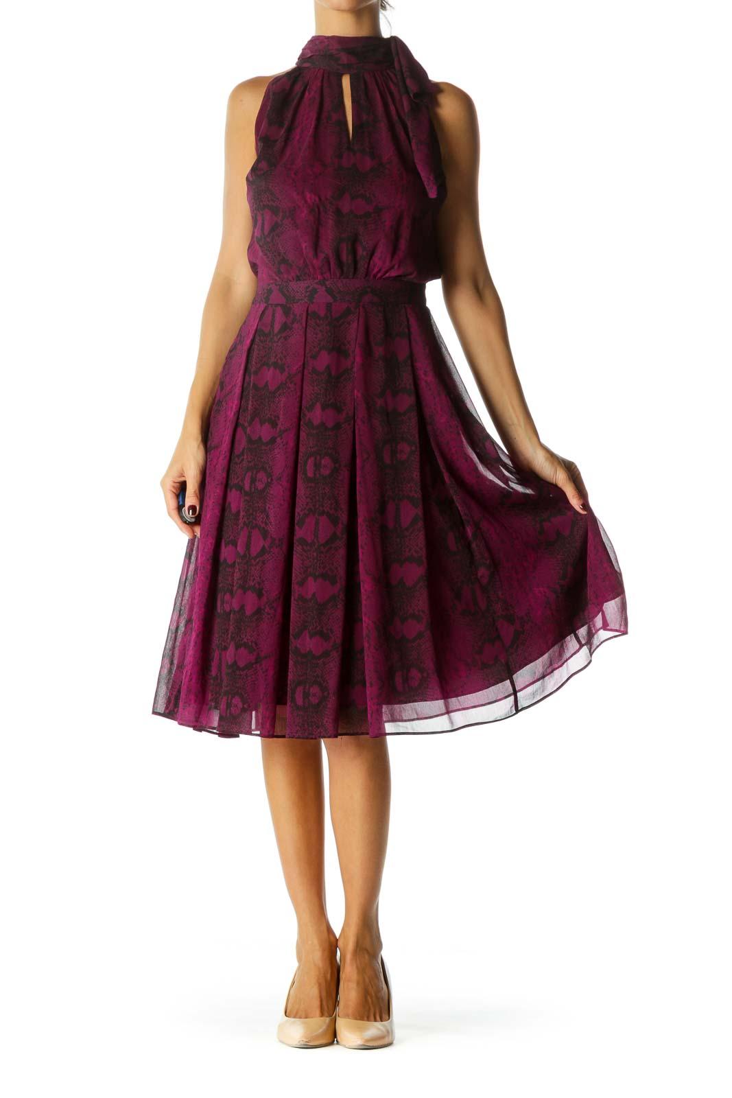 Purple Black Keyhole Snake Skin Print Cocktail Dress