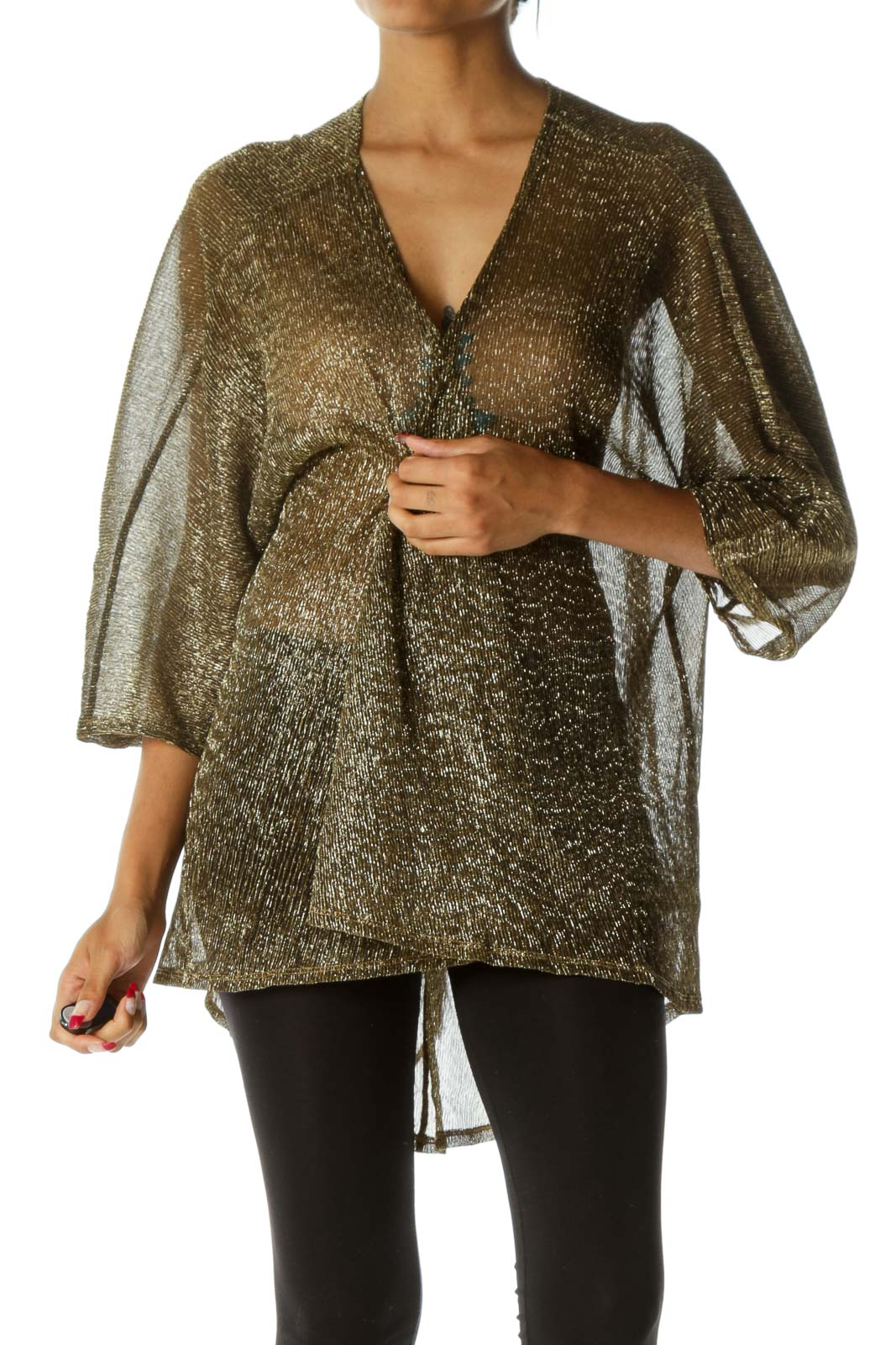 Gold Metallic Loose Sheer Cardigan