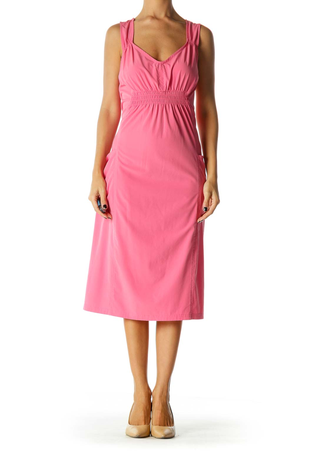Pink V-Neck Stretch Pocketed Back Cut Out Active Dress