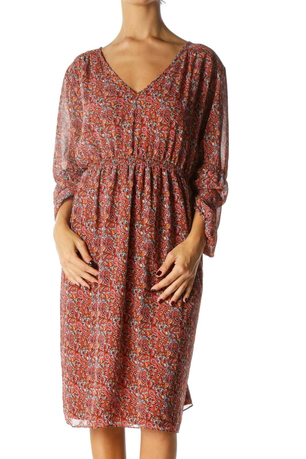 Burnt Orange Multicolored Paisley-Print Peasant-Sleeve Cinched-Waist Day Dress