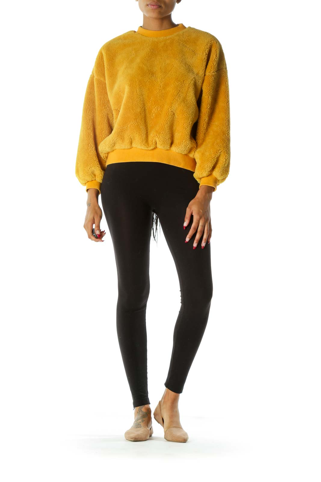 Yellow Round Neck Long Sleeve Fluffy Sweater