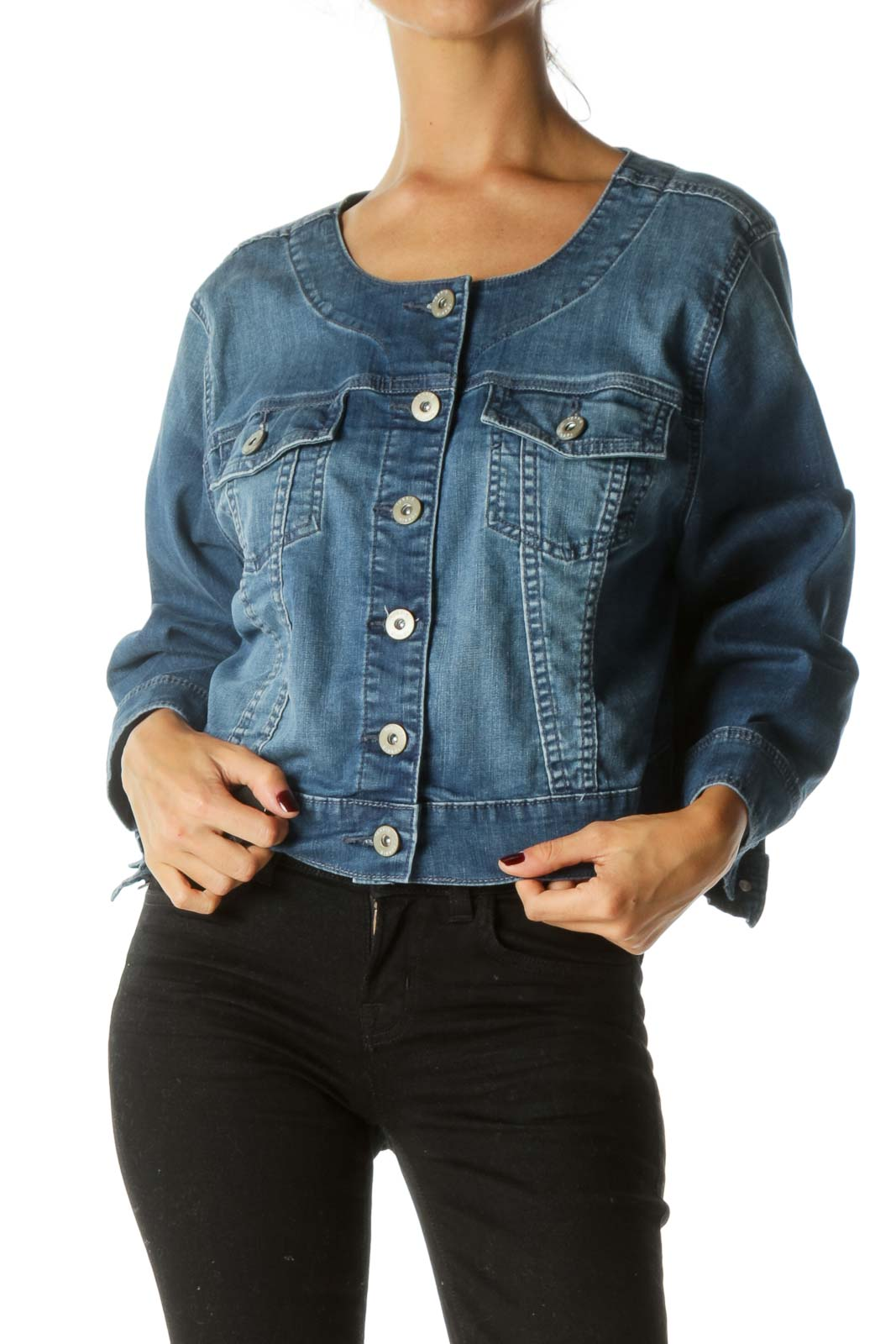 Blue Medium Wash Long Sleeve Breast Pockets Denim Jacket
