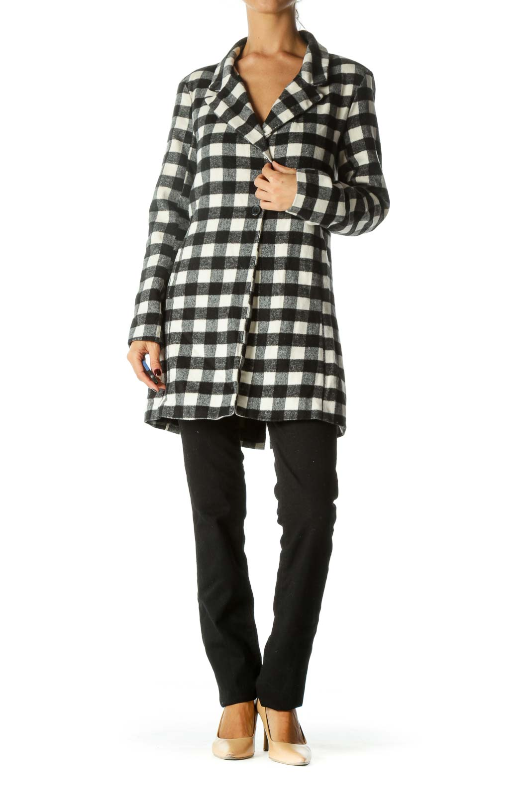 Black White Checkered V-Neck Pocketed Long Sleeve Buttoned Coat