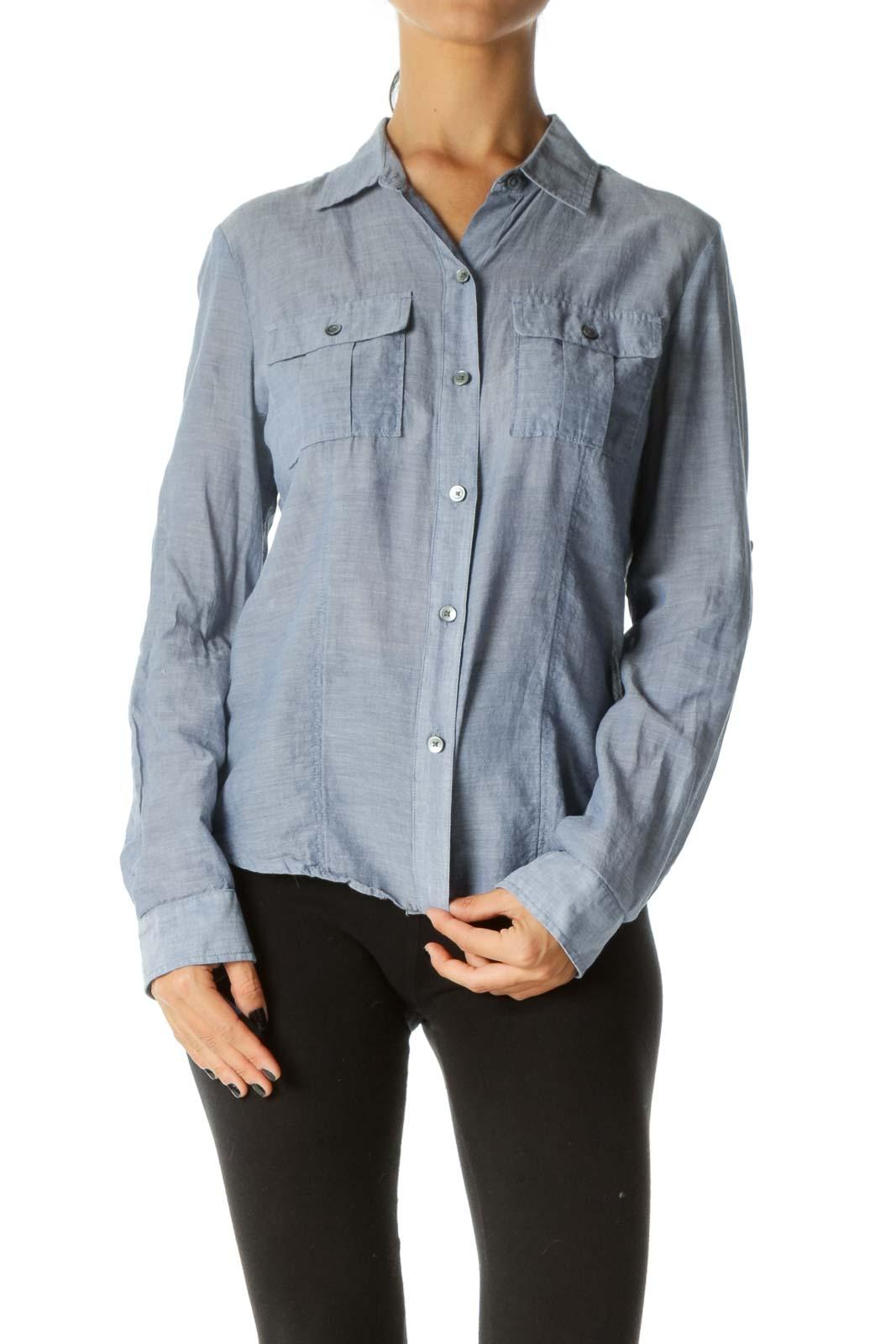 Blue 100% Cotton Breast Pockets Long Sleeve Light Shirt