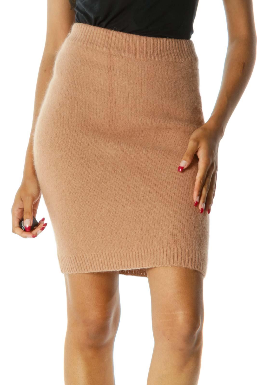 Beige Animal Hair Stretch Elastic Waist Midi Skirt