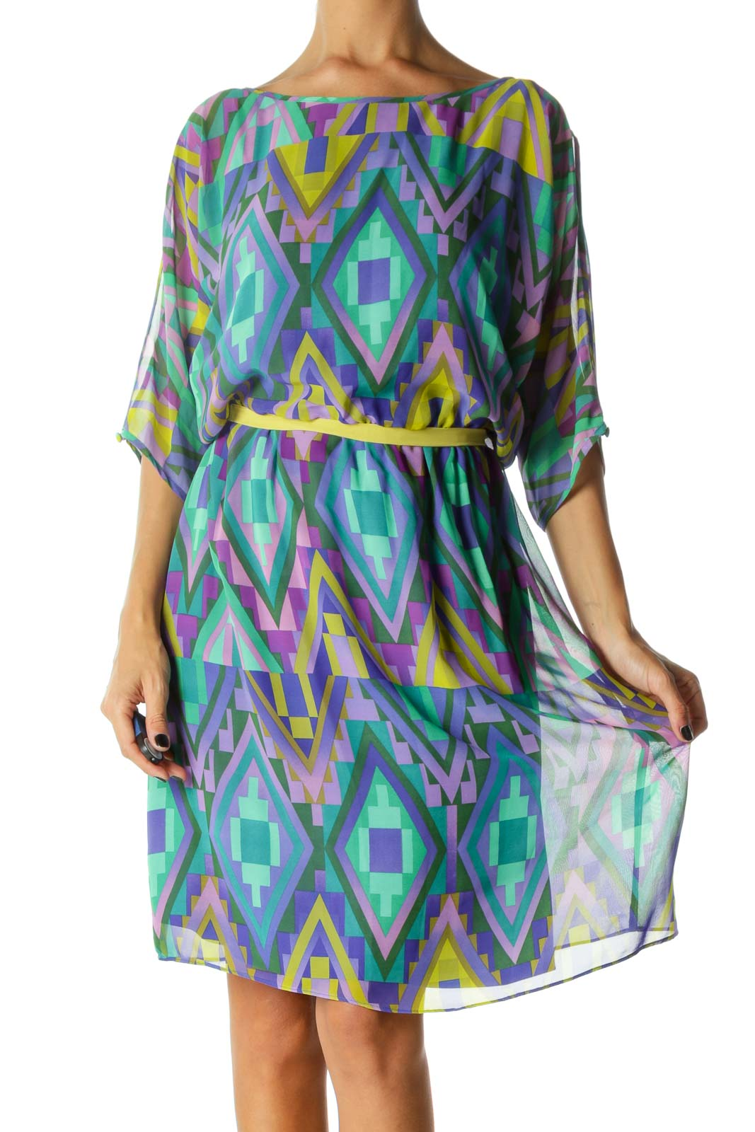 Blue Yellow Purple Geometric Print Cold Shoulder Dress