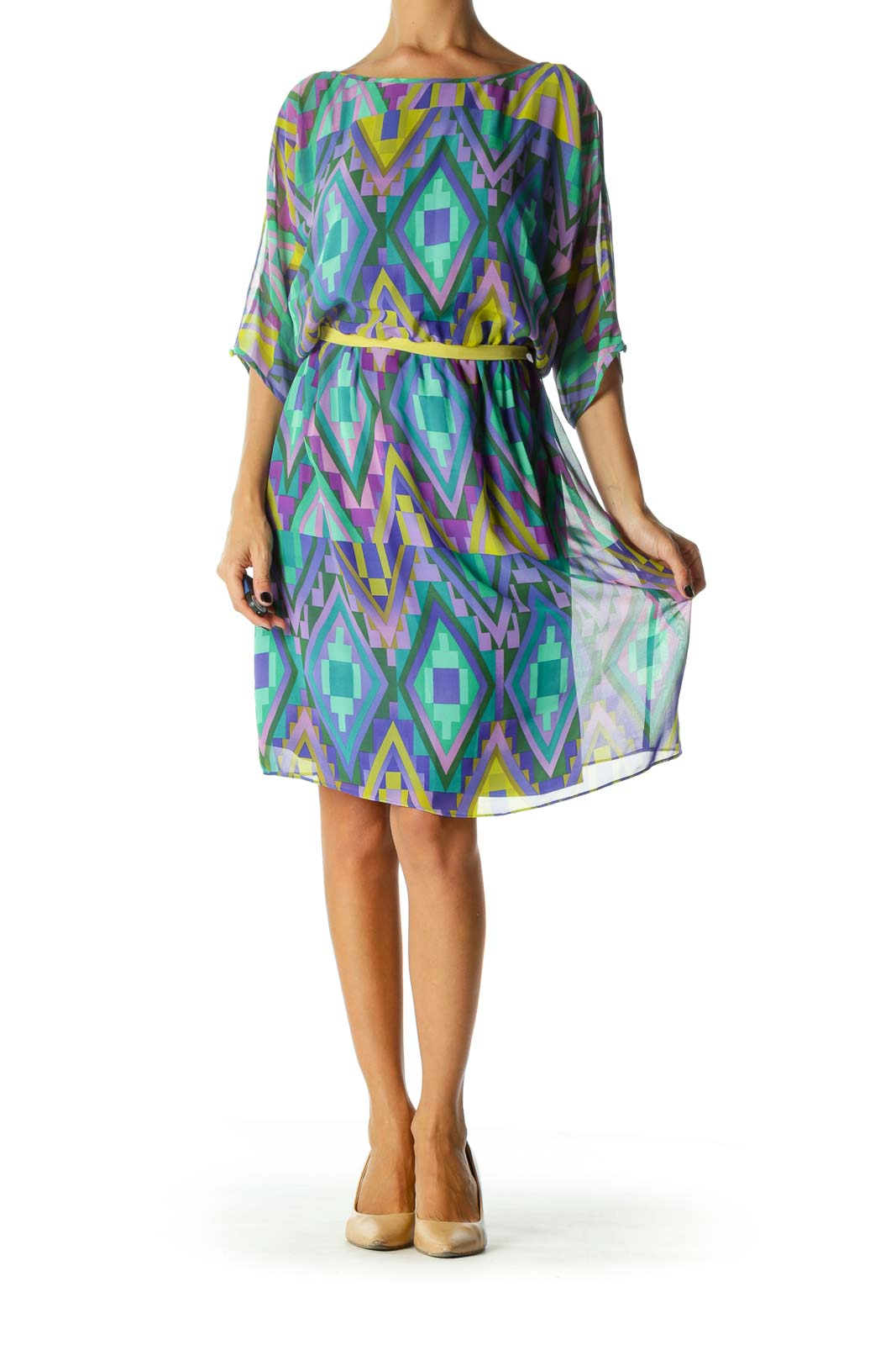 Blue Yellow Purple Geometric Print Cold Shoulder Dress