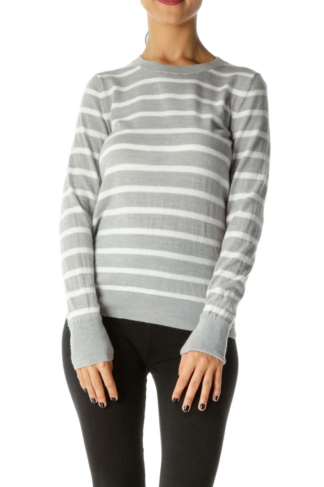 Gray Cream Striped Long Sleeve Extra Fine Merino Wool Sweater