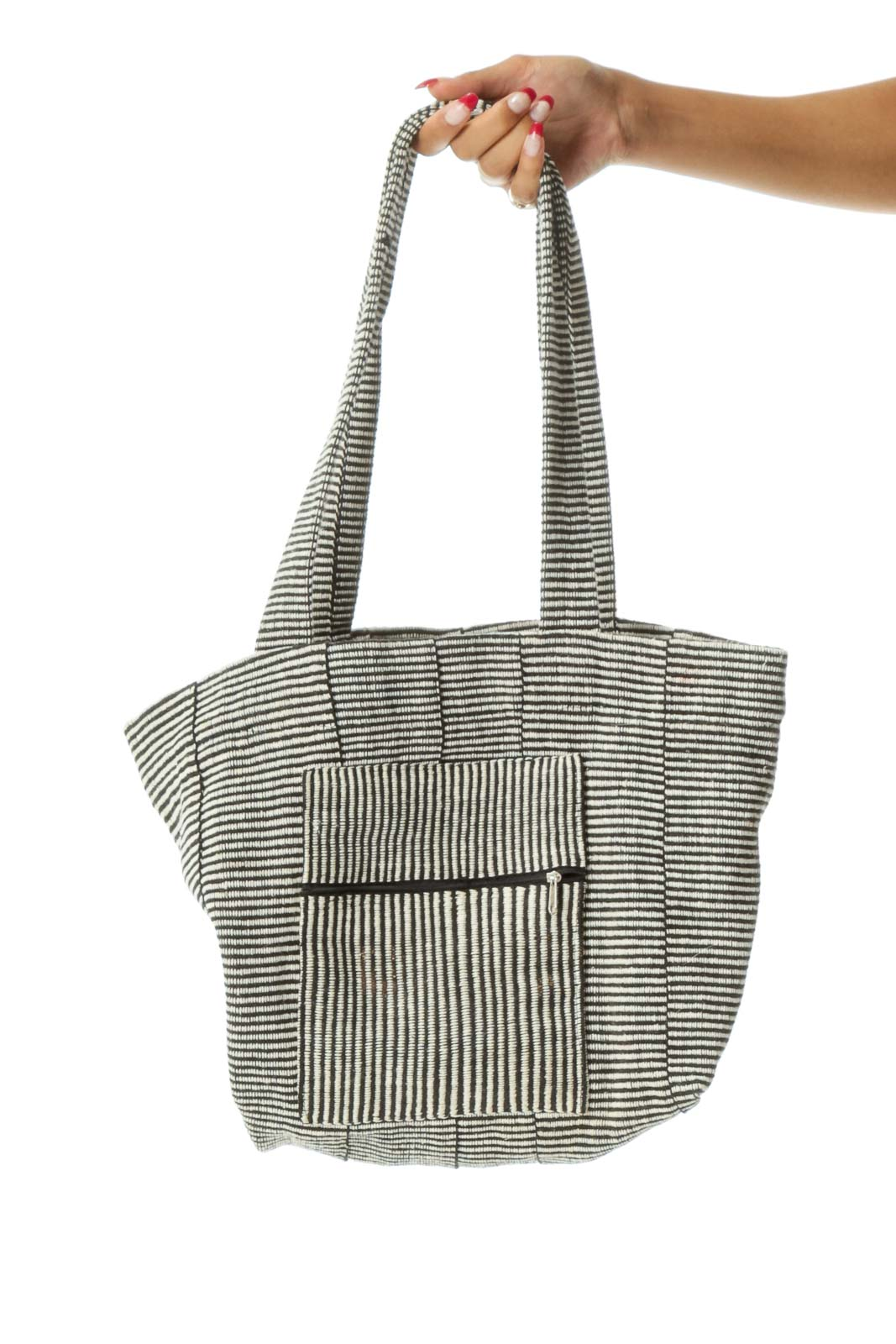Black Cream Woven Cotton Tote