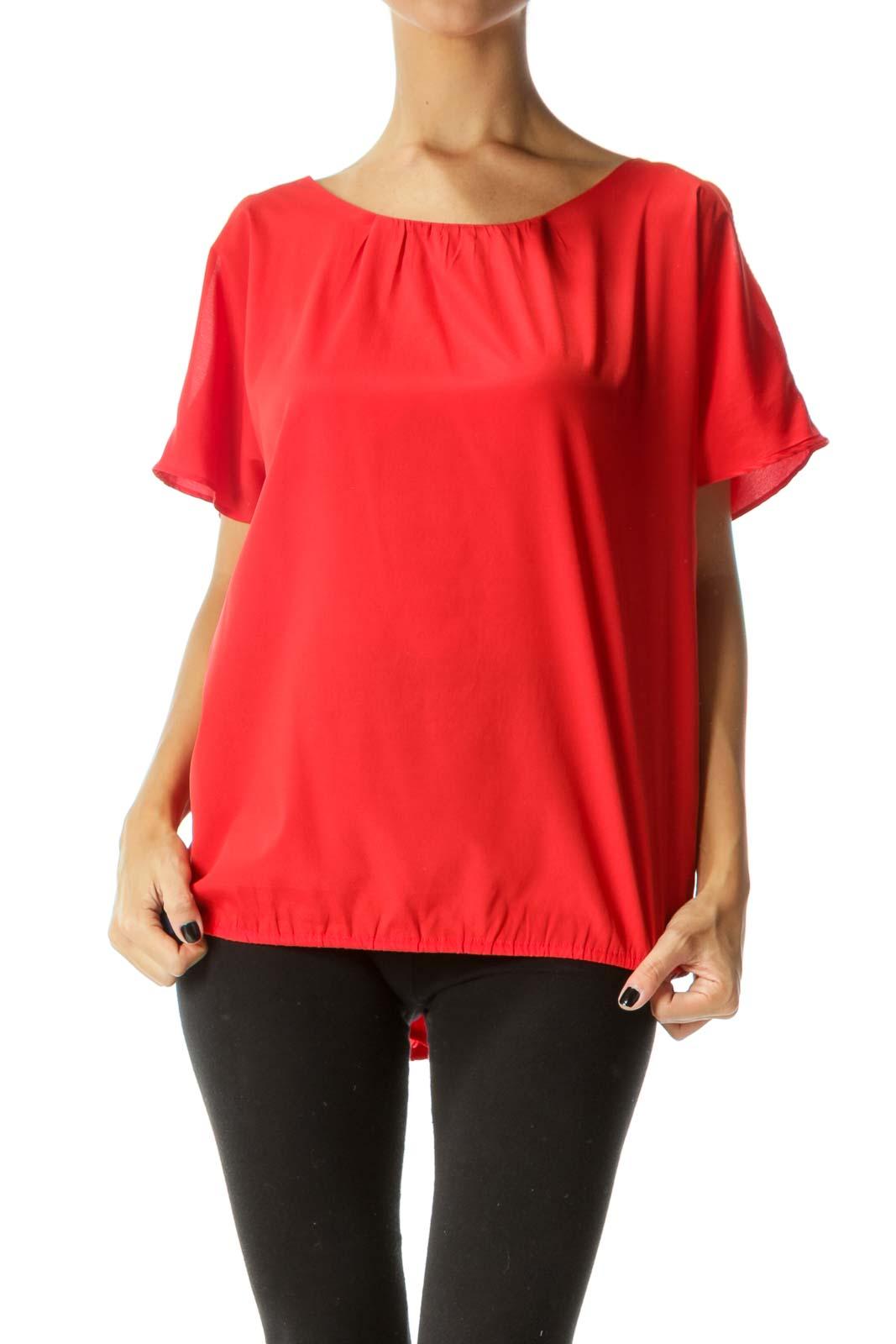 Red Round Neck Short Sleeve Cold Shoulder Top