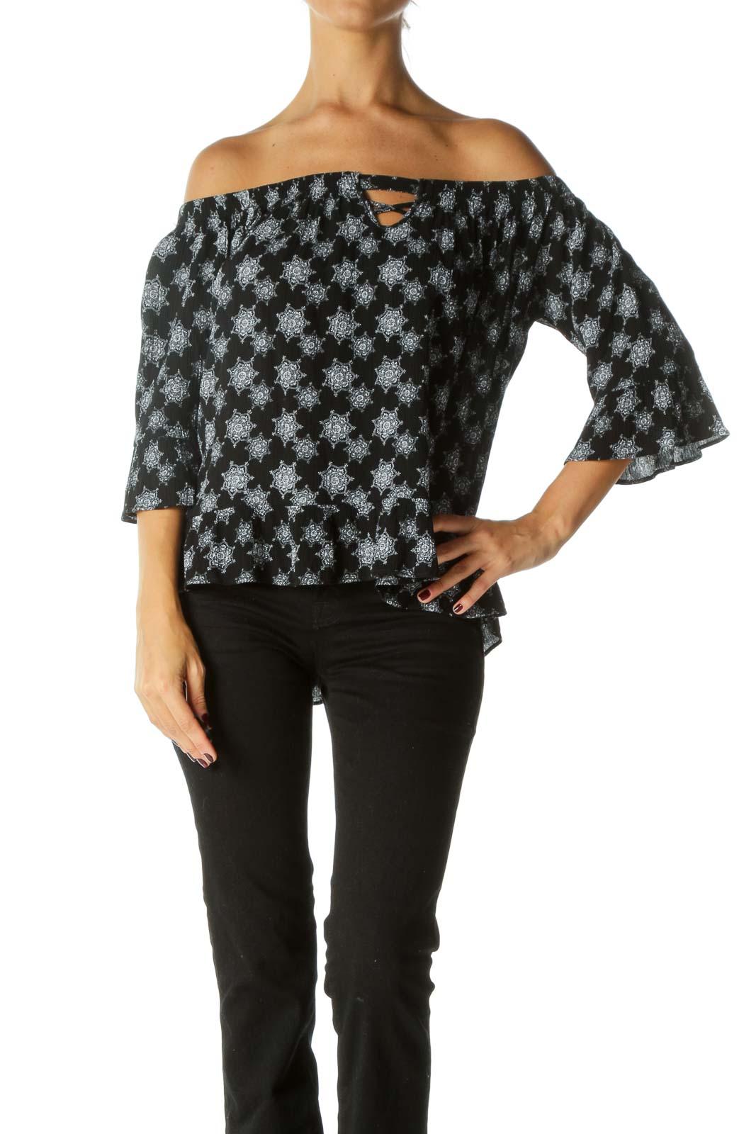 Black & White Mandala-Print Off-The-Shoulder Blouse