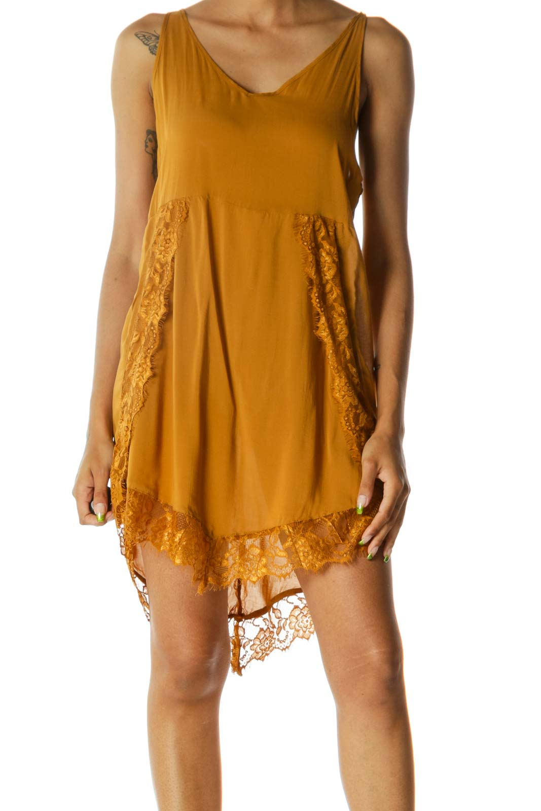 Mustard Yellow Lace V-Neck Stretch Day Dress