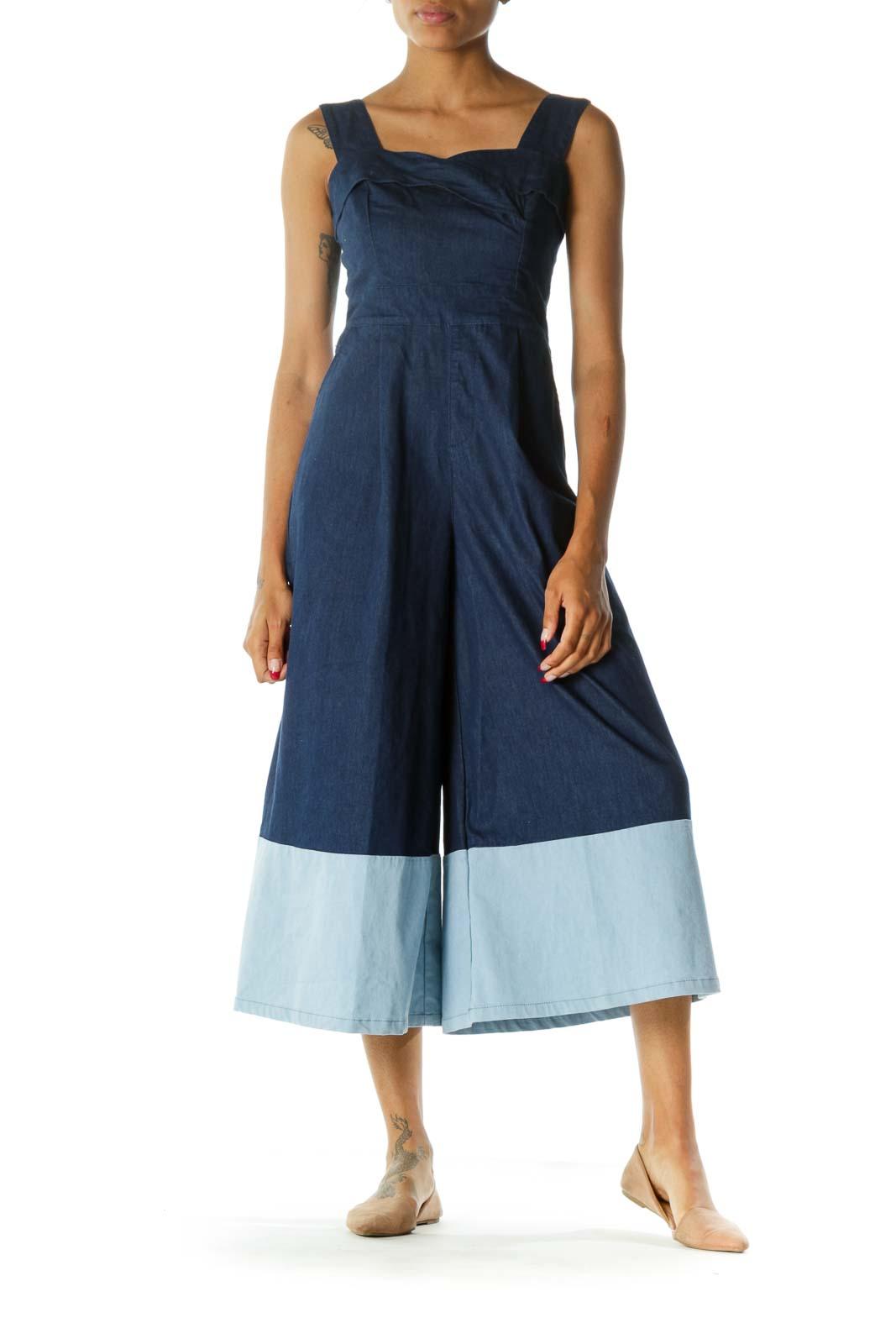 Blue Sweetheart Neckline Pocketed Denim Jumpsuit