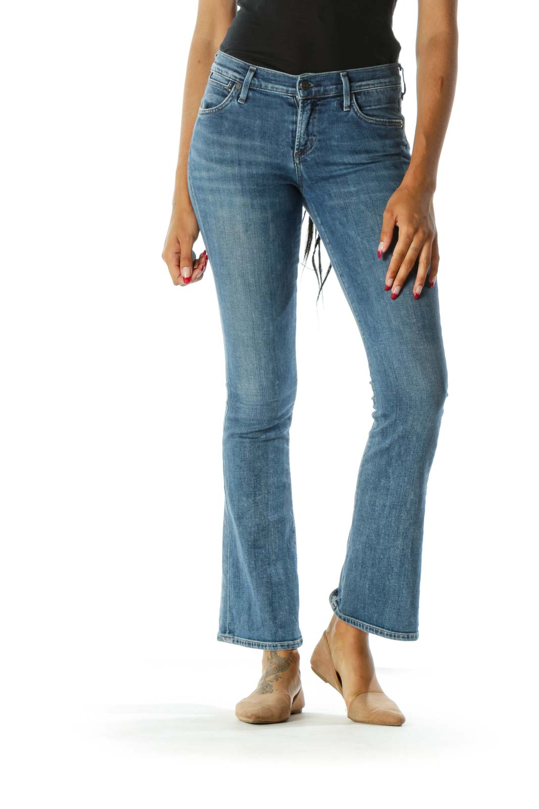 Blue Medium Wash Mid-Rise Flared Jeans