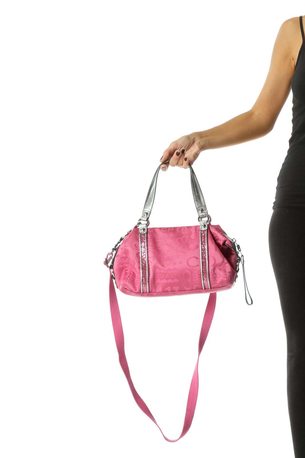 Pink Silver Zippered Glitter Detail Shoulder Bag