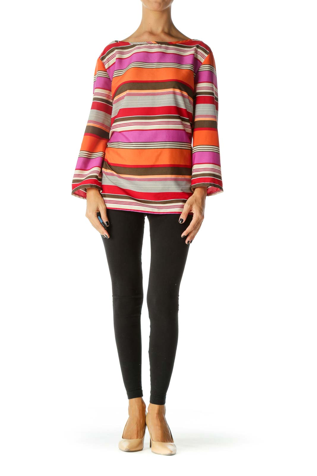 Multicolored Boat Neck Long Sleeve Striped Blouse