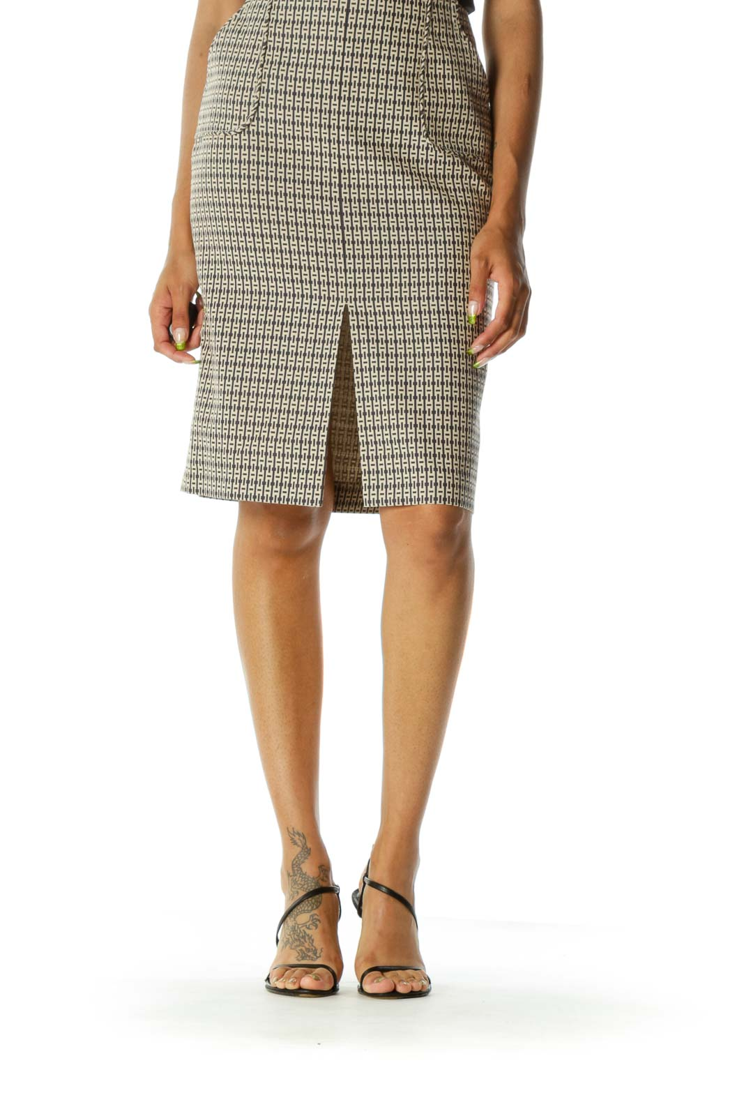 Black Brown Pattern Pencil Skirt