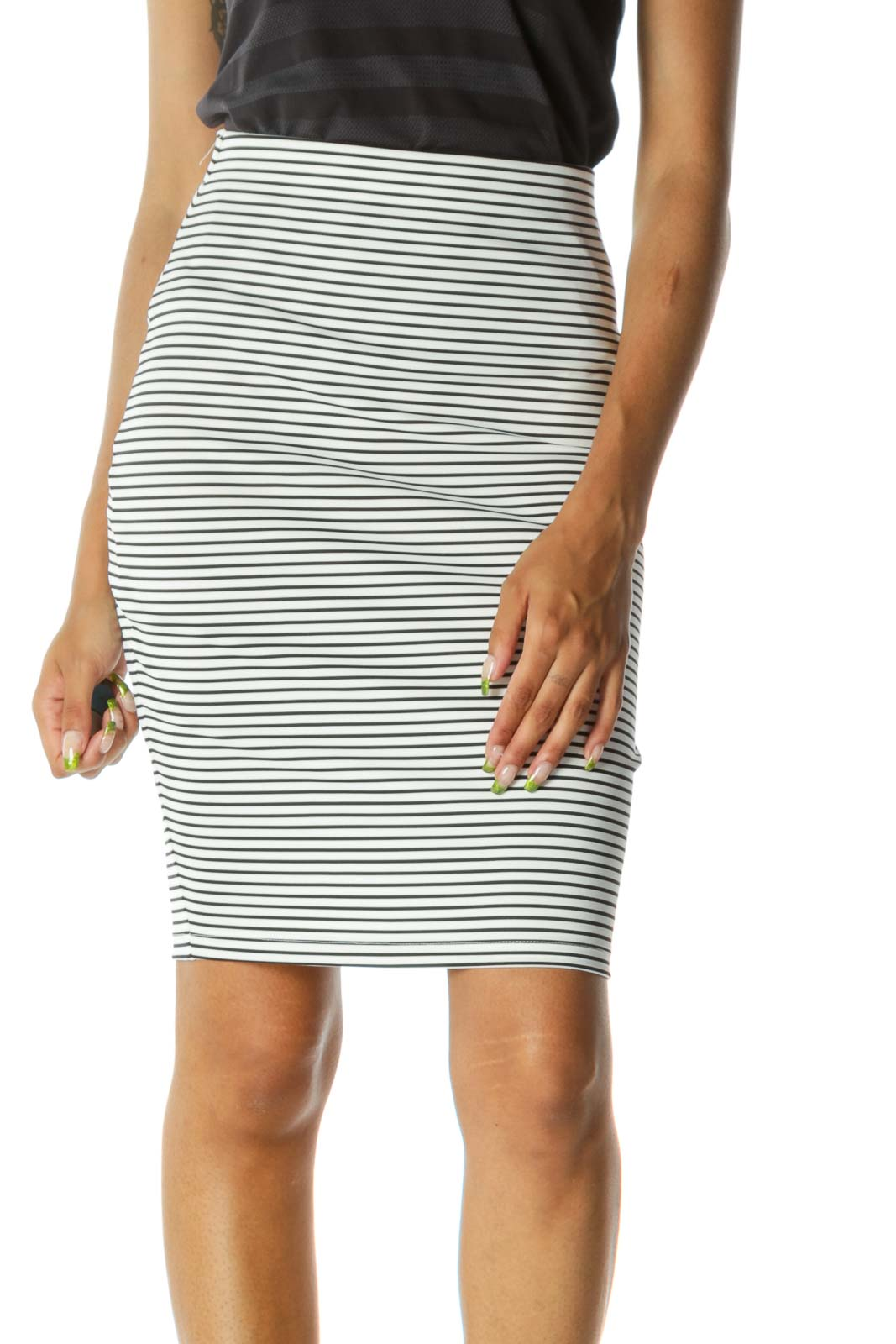 Black White Striped Elastic Band Stretch Pencil Skirt