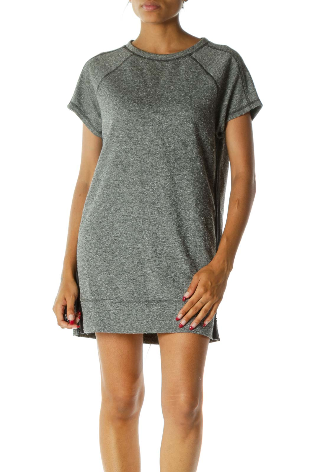 Gray Blue Round Neck Short Sleeve Pocketed Knit Dress