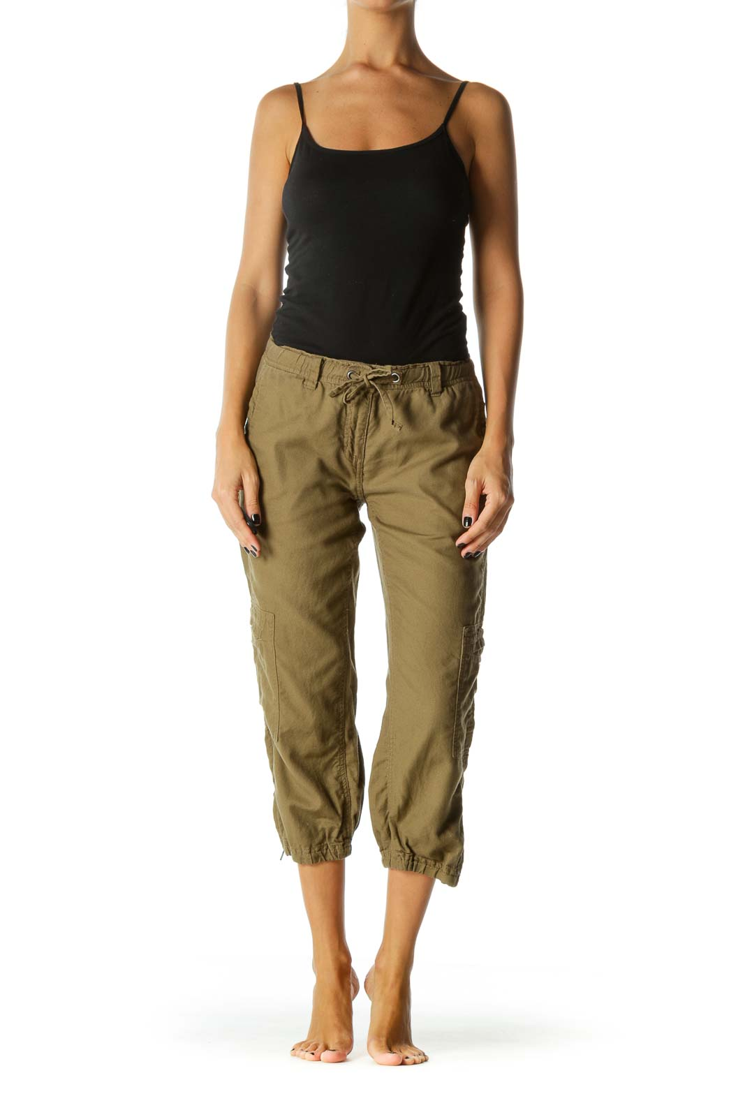 Brown Cotton Pocketed Joggers
