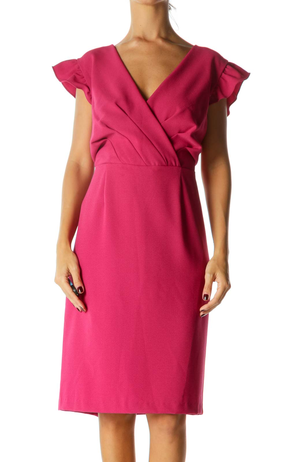 Magenta Pink Flared Sleeves V-Neck Pleated Cocktail Dress