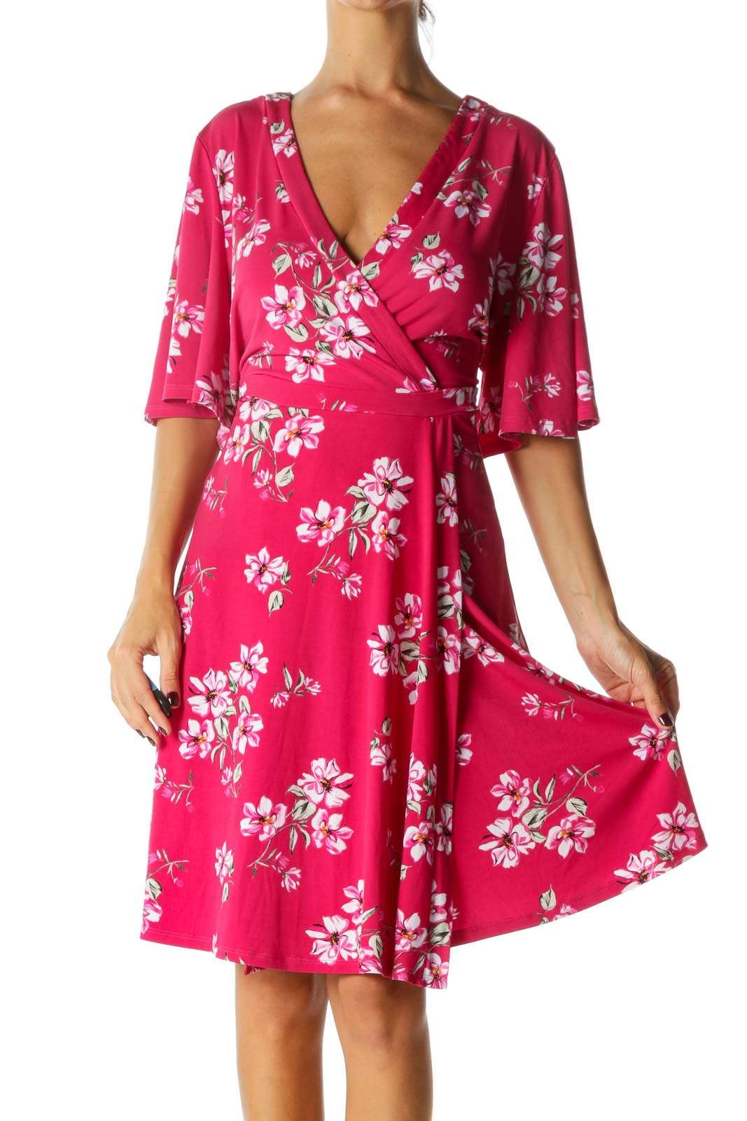 Pink White Green Floral Print Short Sleeves Stretch Mock Wrap Dress