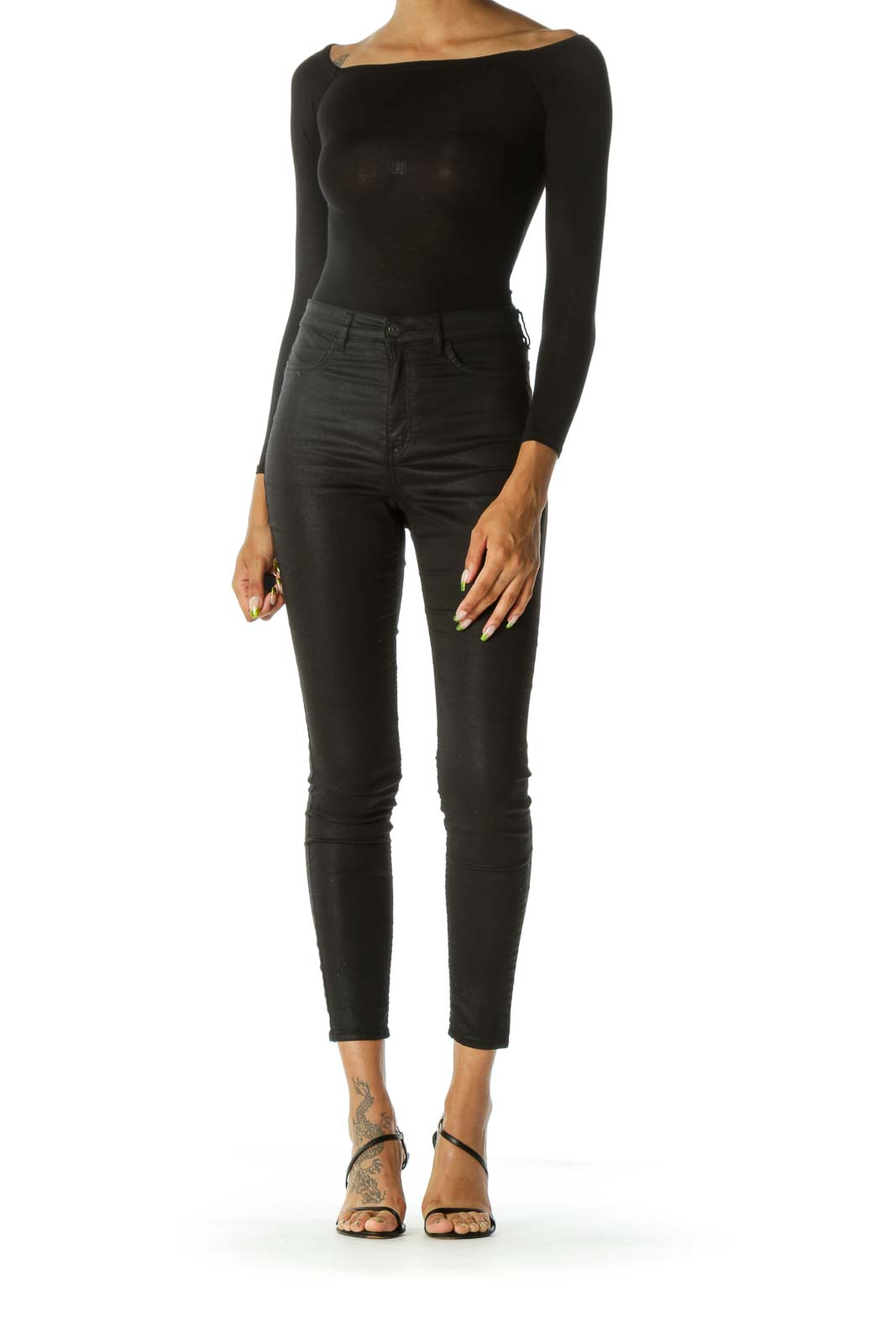 Black Cold Shoulder Jersey-Knit Stretch Bodysuit