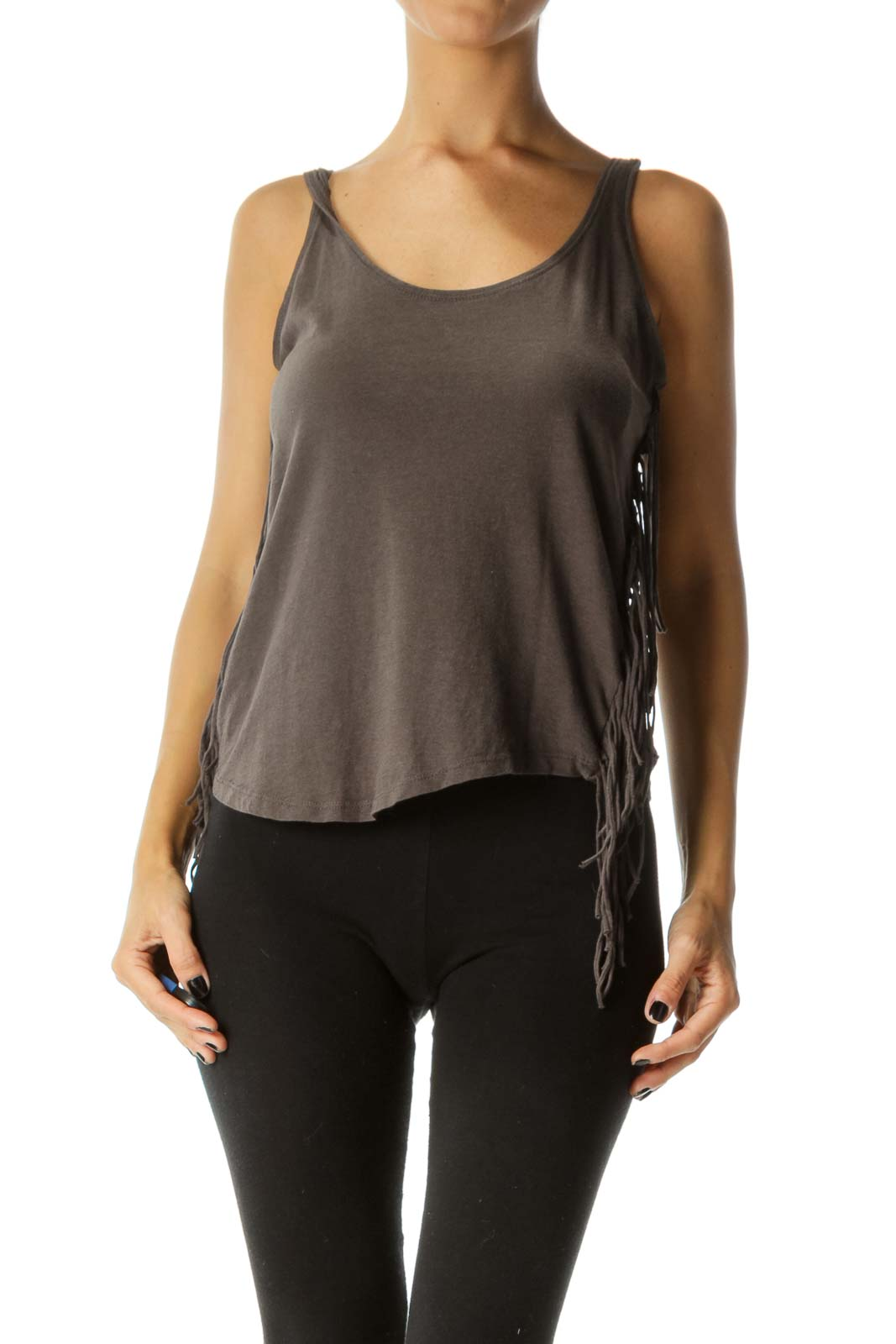 Gray Round Neck Fringe Tank Top