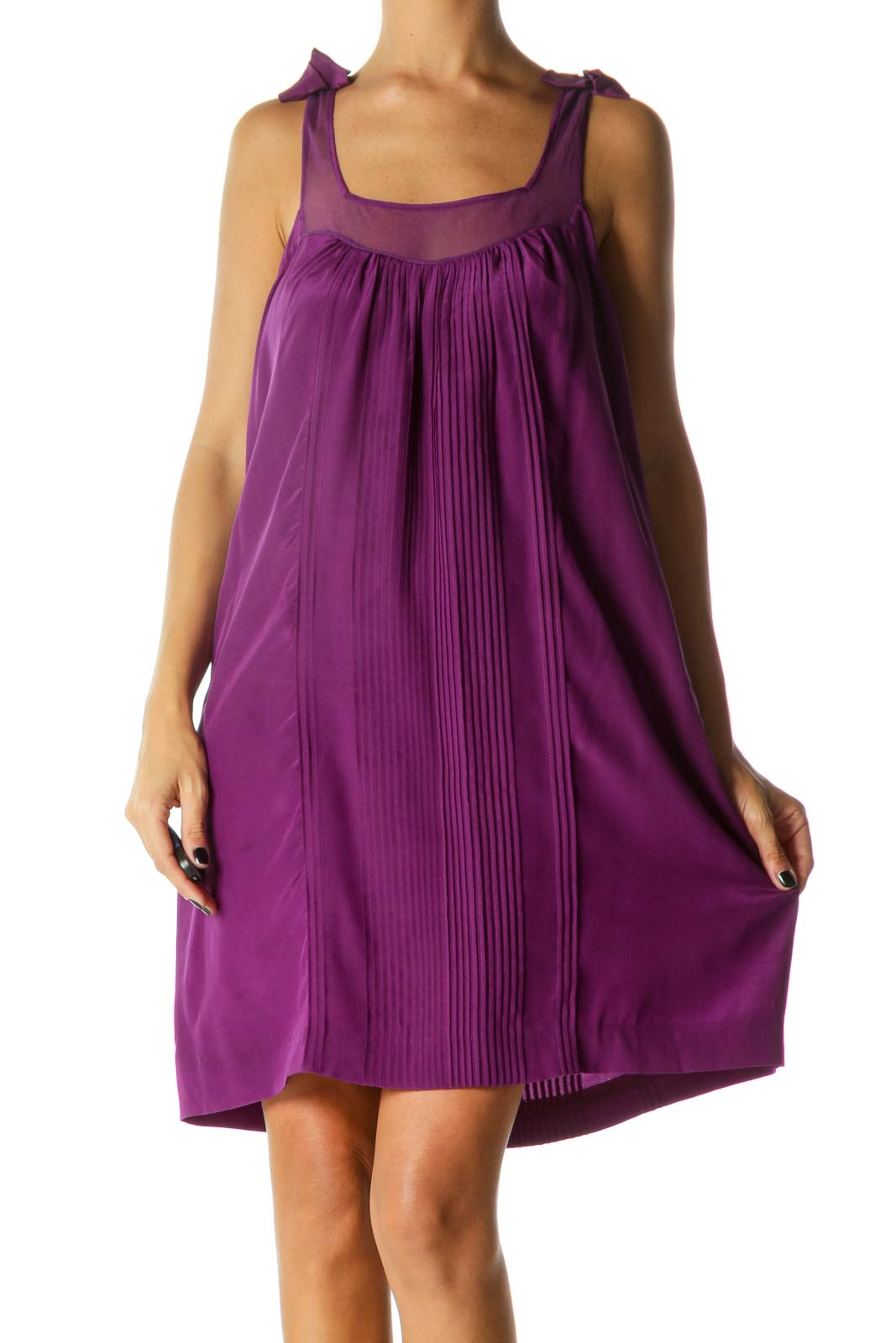 Purple Bows Detail Square Neck Pleated Dress