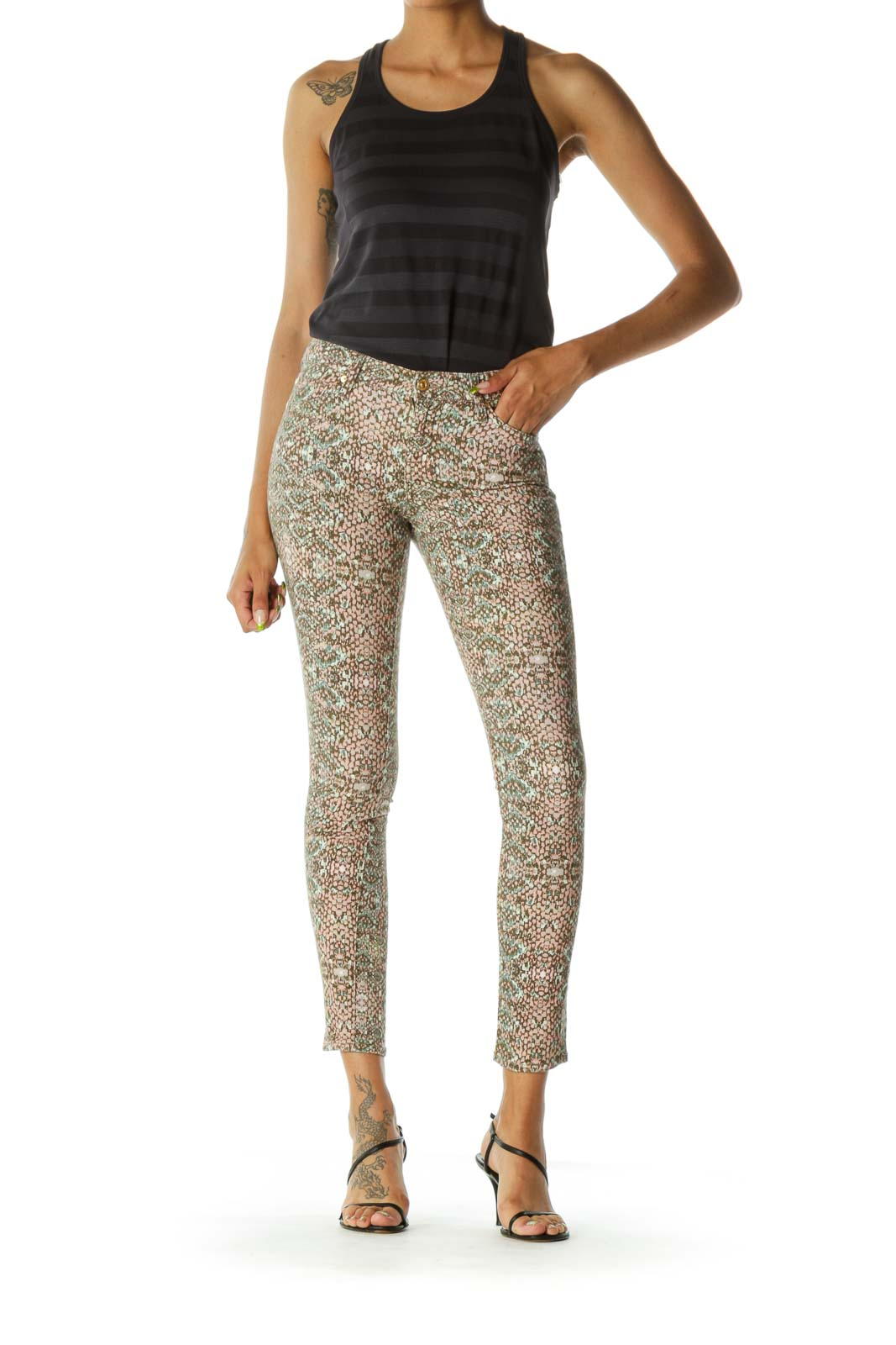Beige Pink Green Snake Print Tapered Pants
