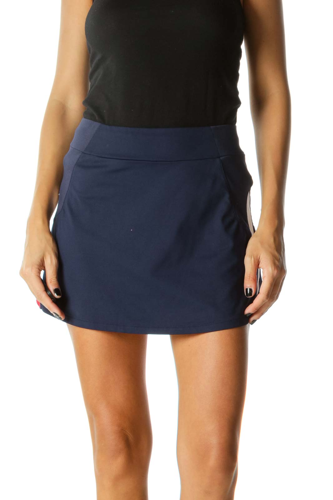 Navy Blue Red White Stretch Active Skirt
