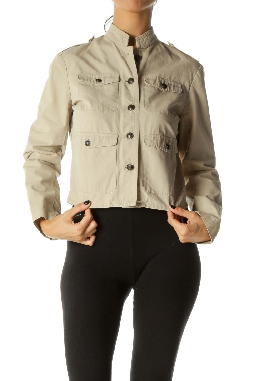 Beige Breast Pockets Buttoned Soldier Style Jacket