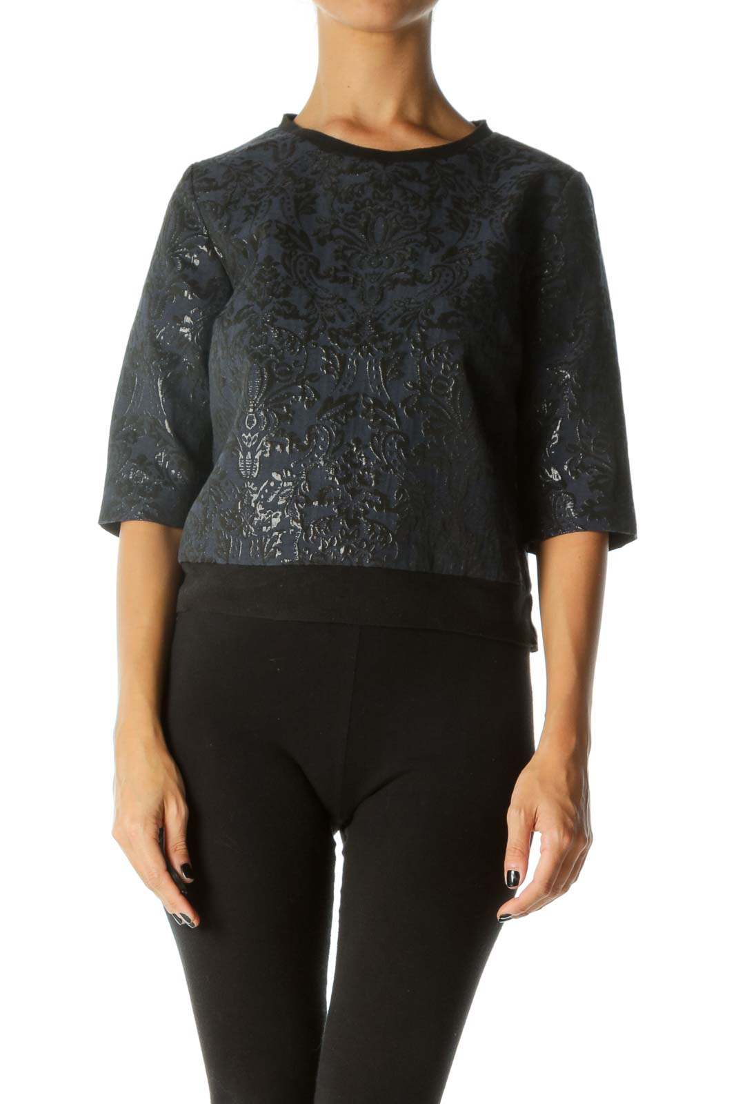 Black Blue Shiny Jacquard 3/4 Sleeve Textured Top