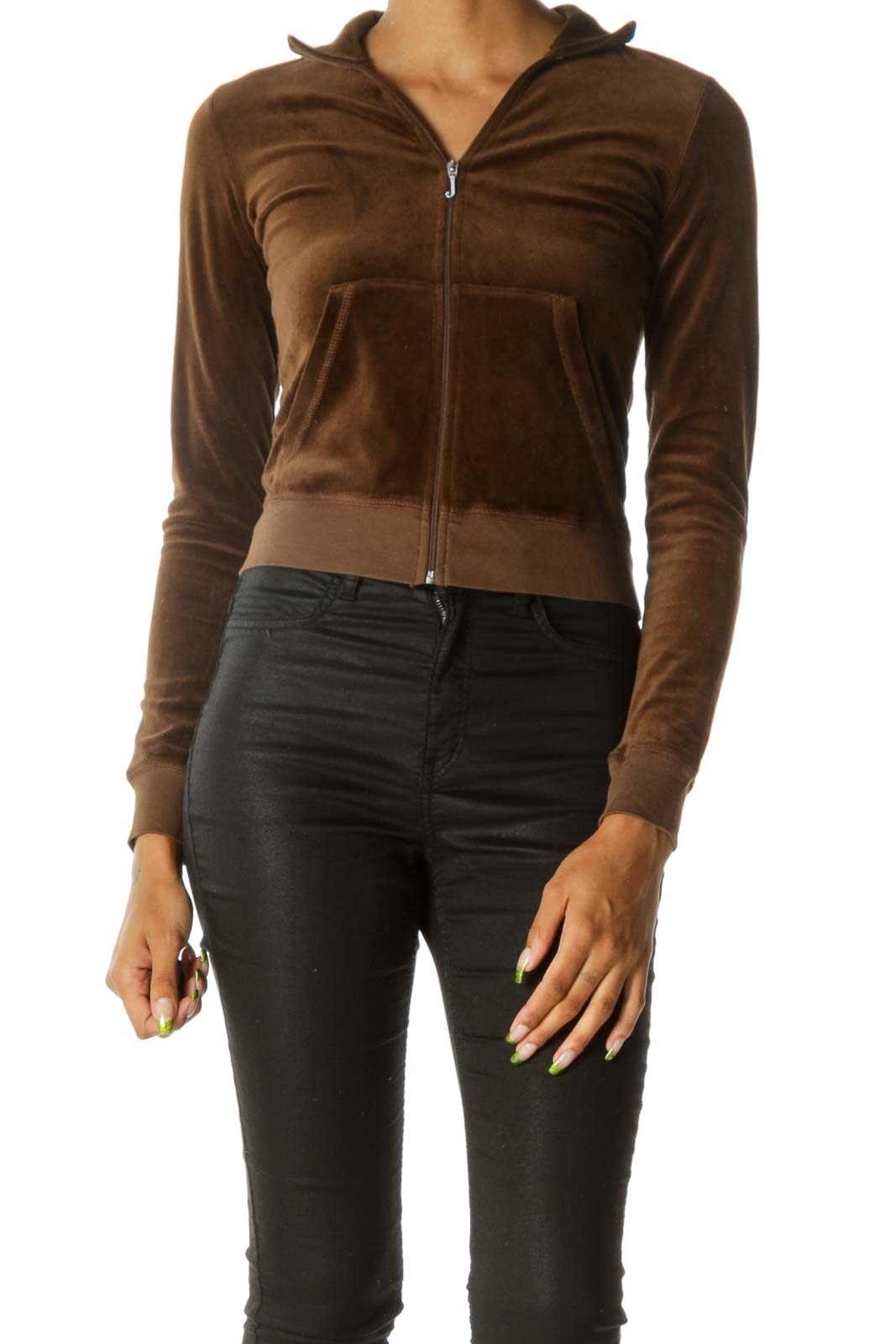 Brown Zippered Pocketed Stretch Fitted Jacket