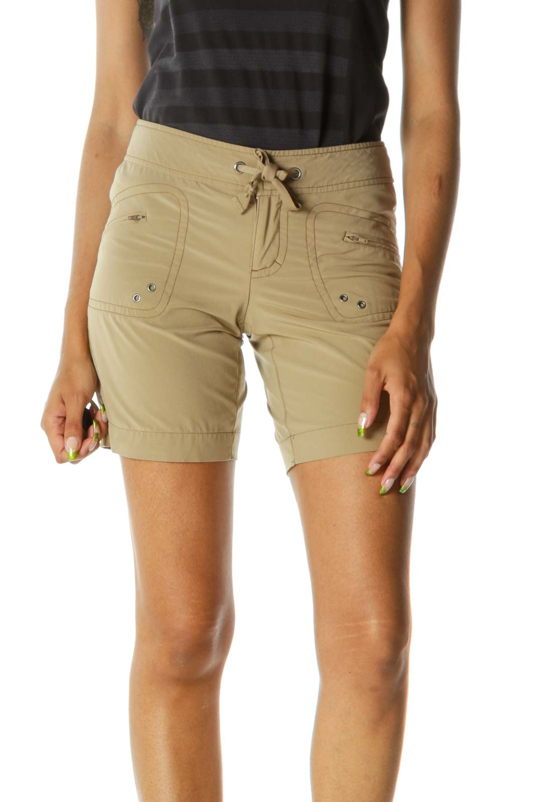 Brown Front Knot Zippered Pockets Stretch Shorts