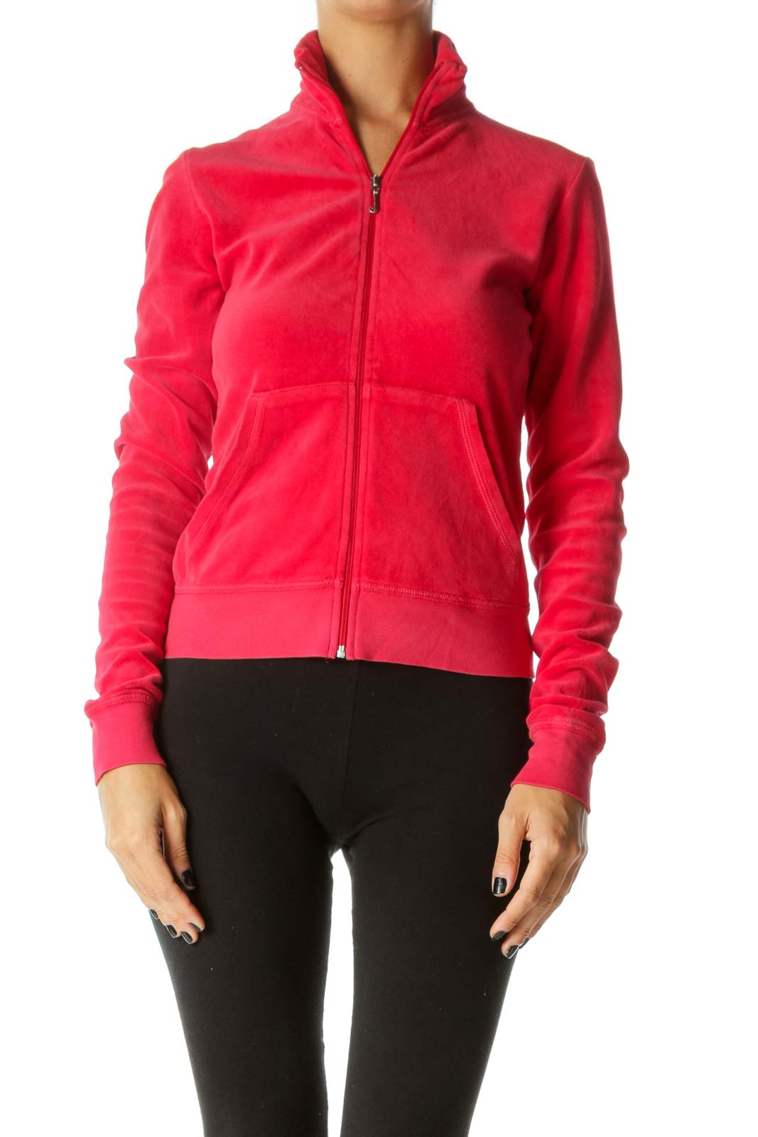 Red Stretch Long Sleeve Zippered Fitted Jacket