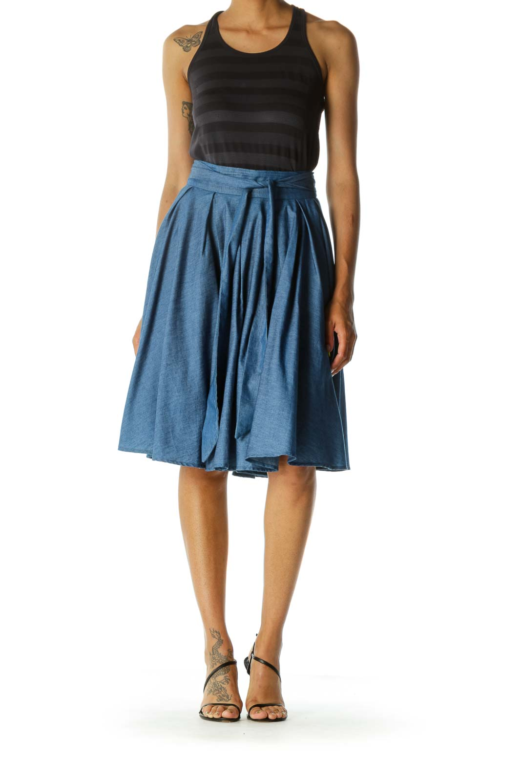 Blue Pleated Mid-Length Skirt with Inside Tulle
