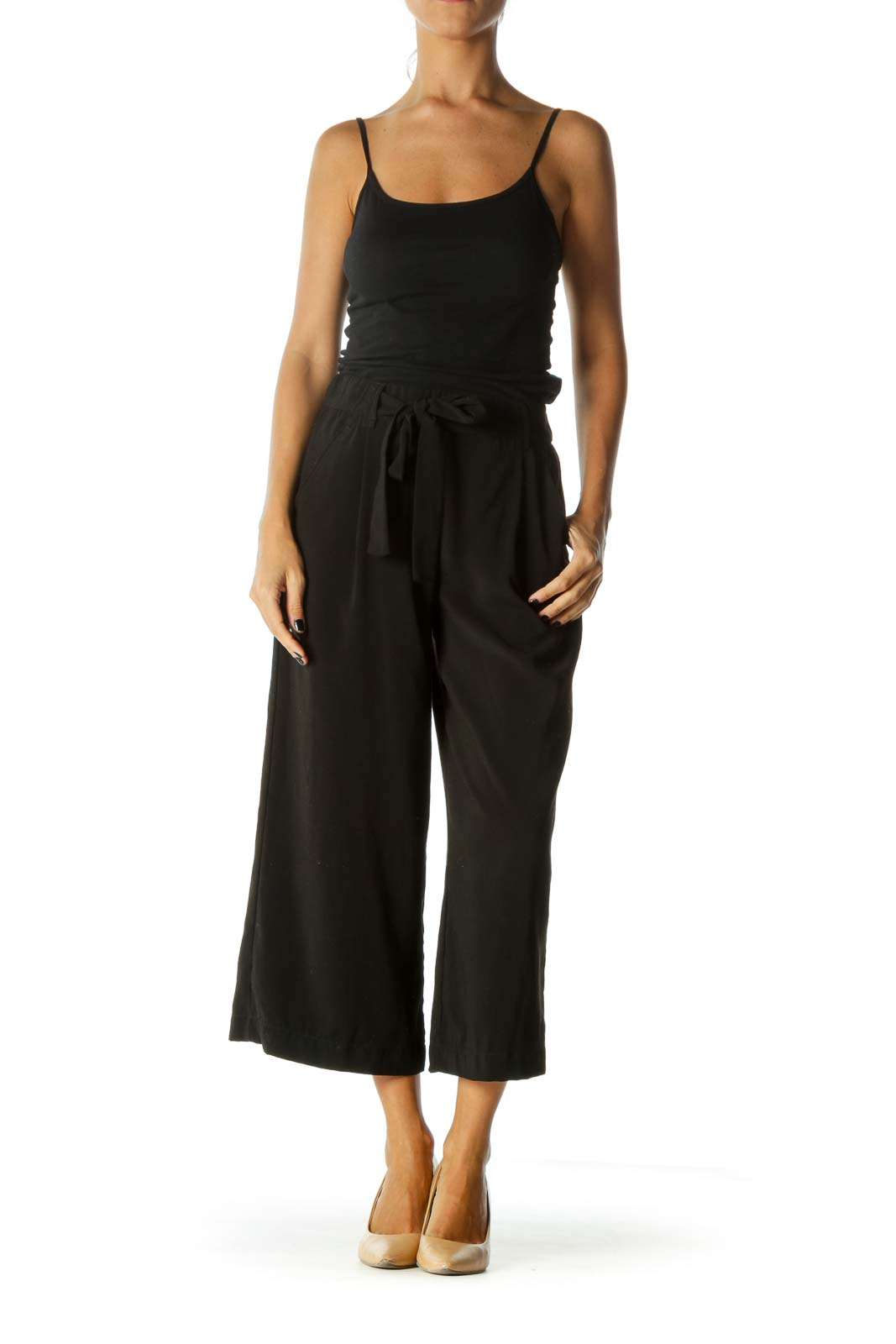 Black Wide-Leg Cropped Pants