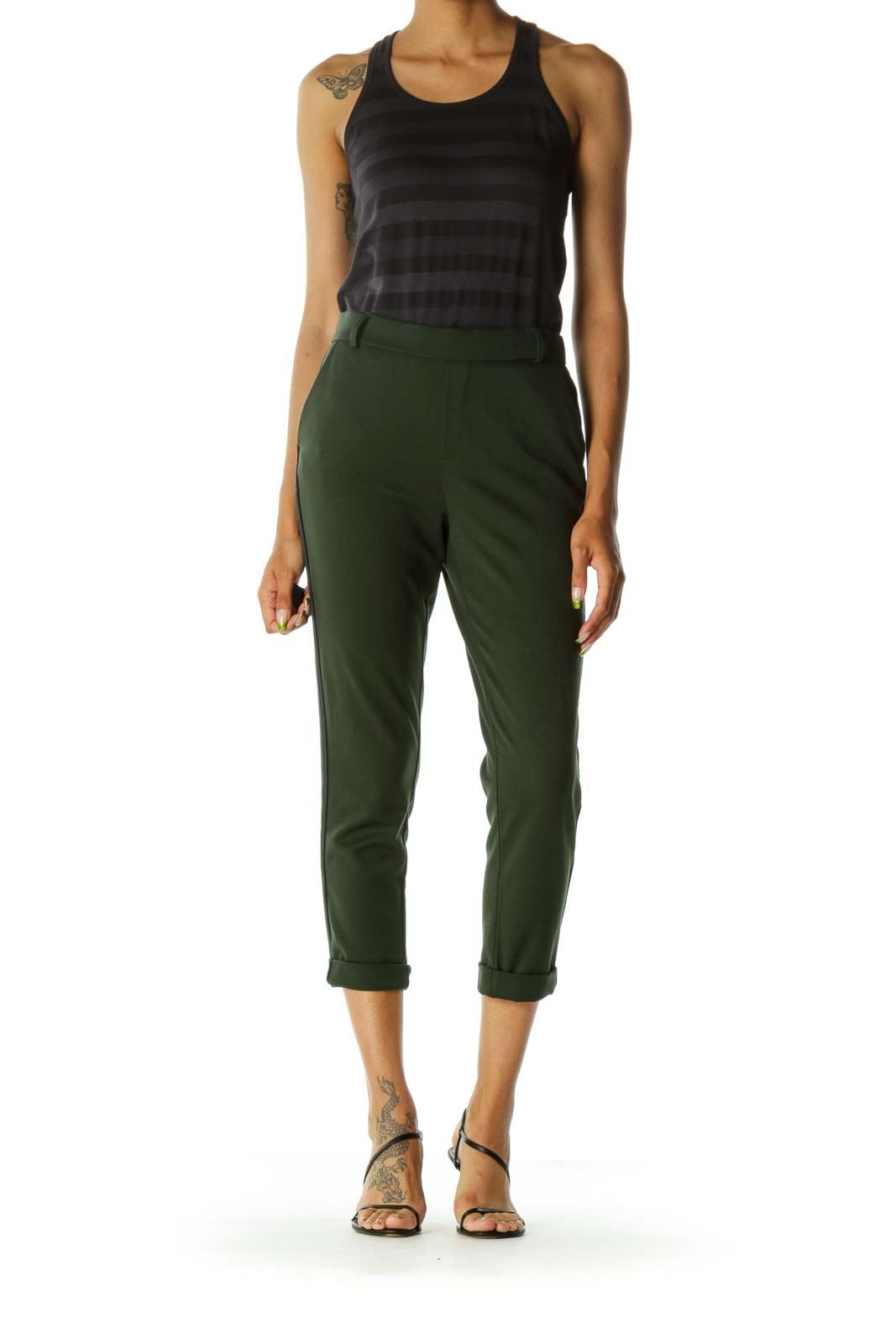 Olive Green Side Detail Pants