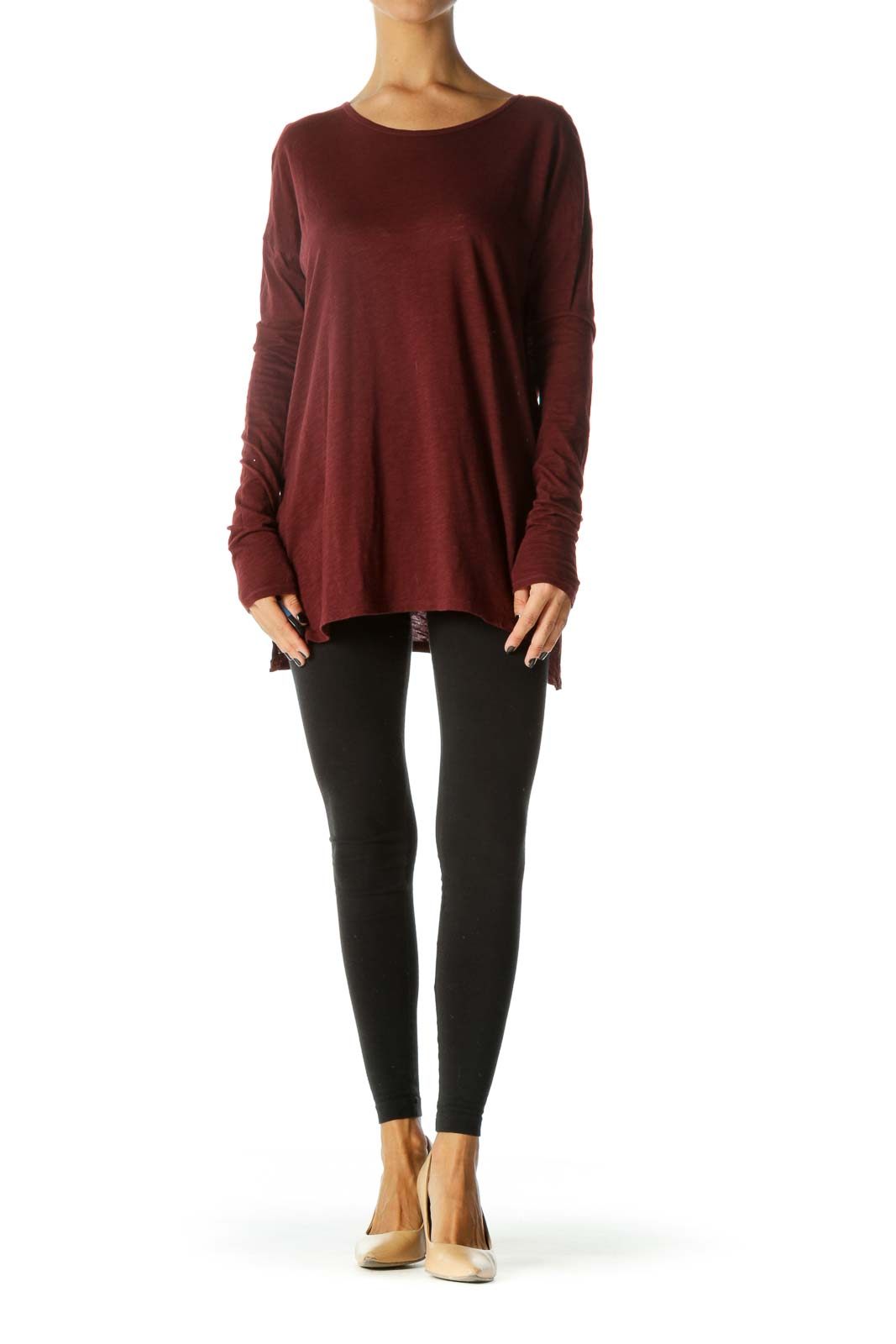 Burgundy Round Neck Open Back Long Sleeve Top