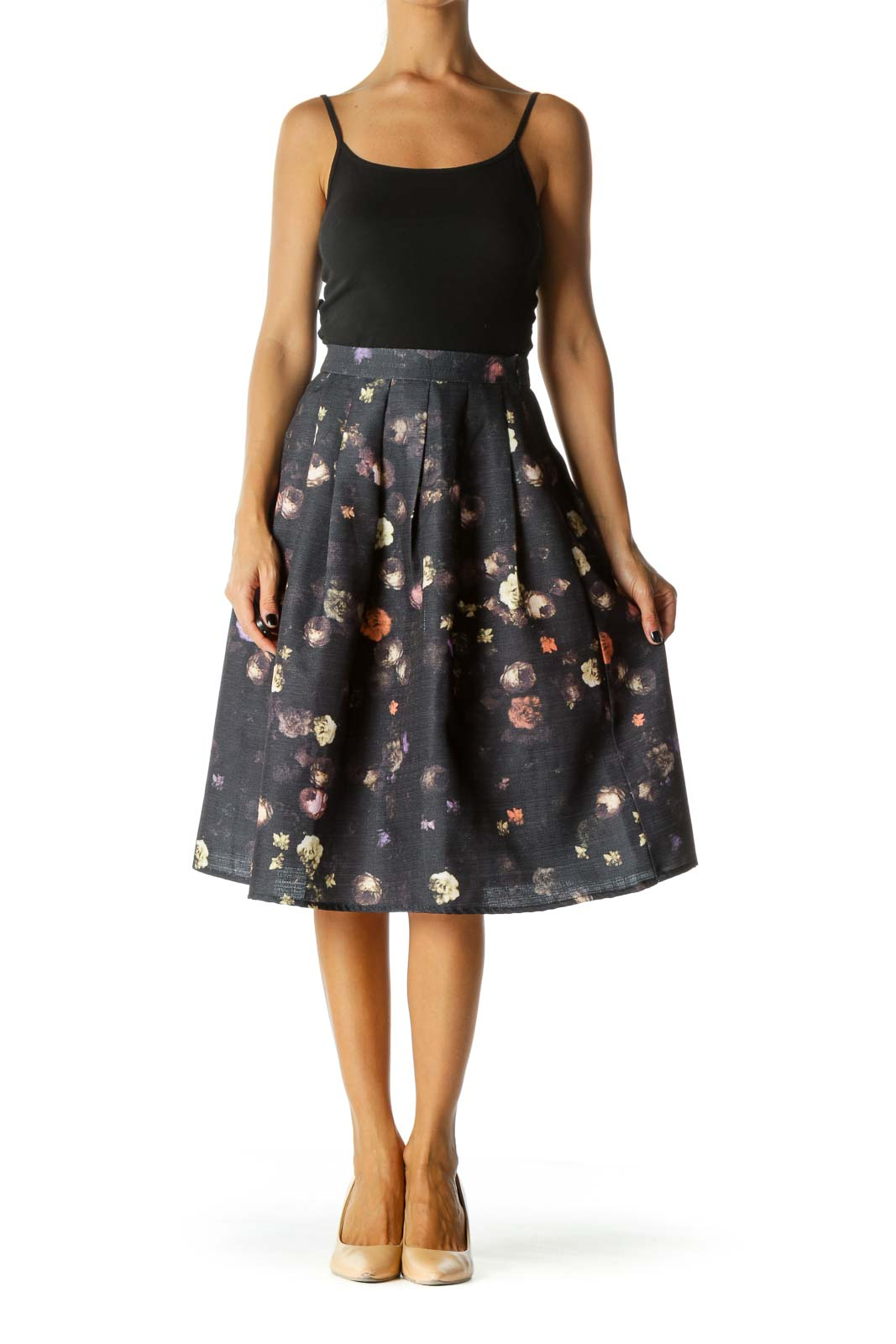 Black Purple Floral Midi Pleat Skirt