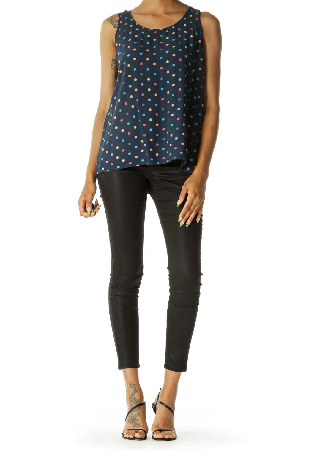 Blue Multicolored Dotted Print Textured Feel Flared Tank Top