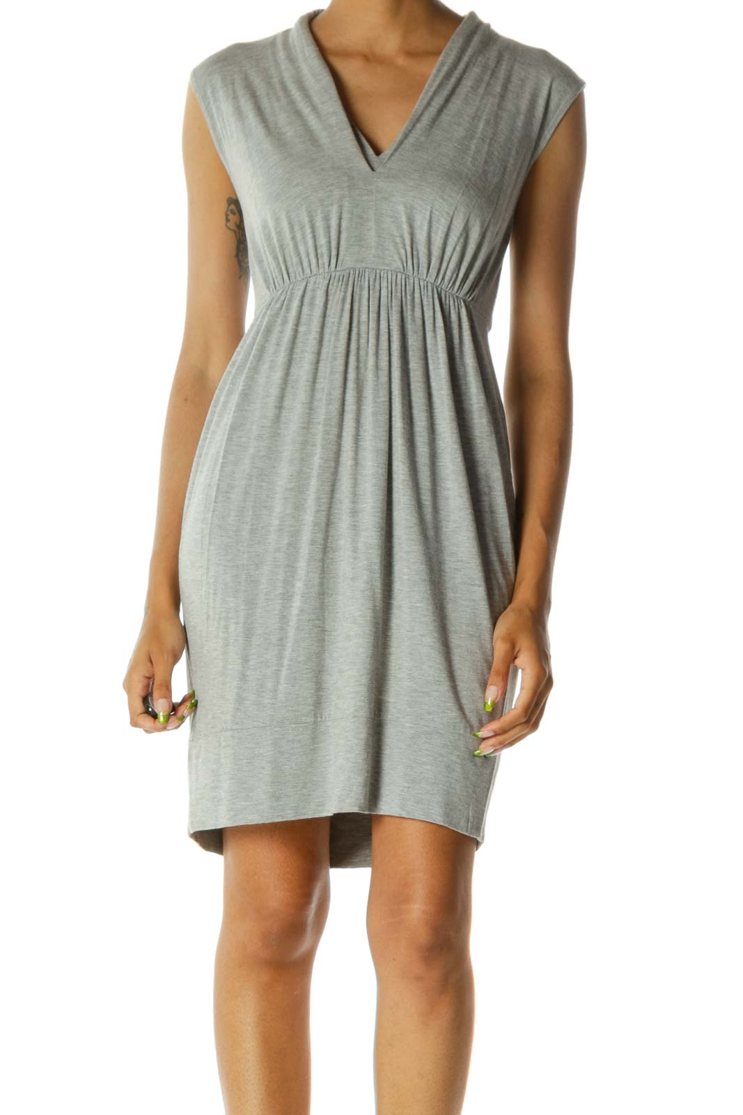 Gray V-Neck Stretch Jersey-Knit Day Dress