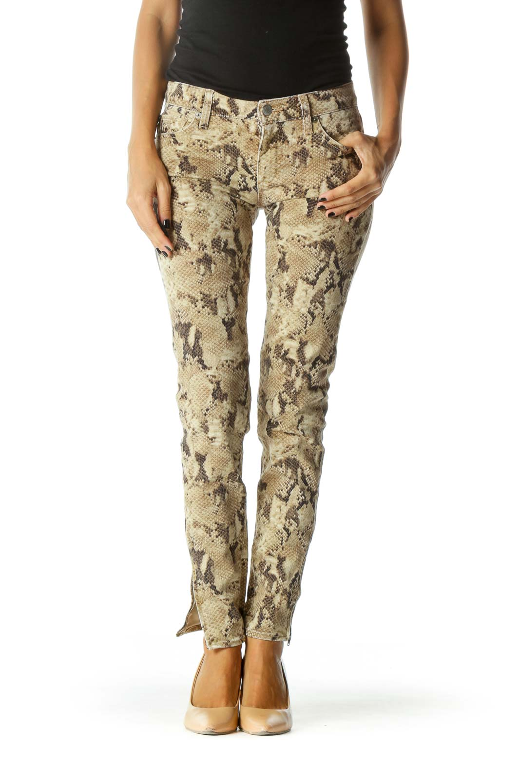 Brown Beige Black Snake Print Ankle Zippers Pants