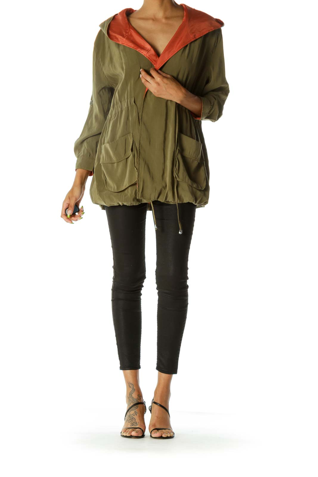 Olive Green Hooded Drawstring Open Jacket